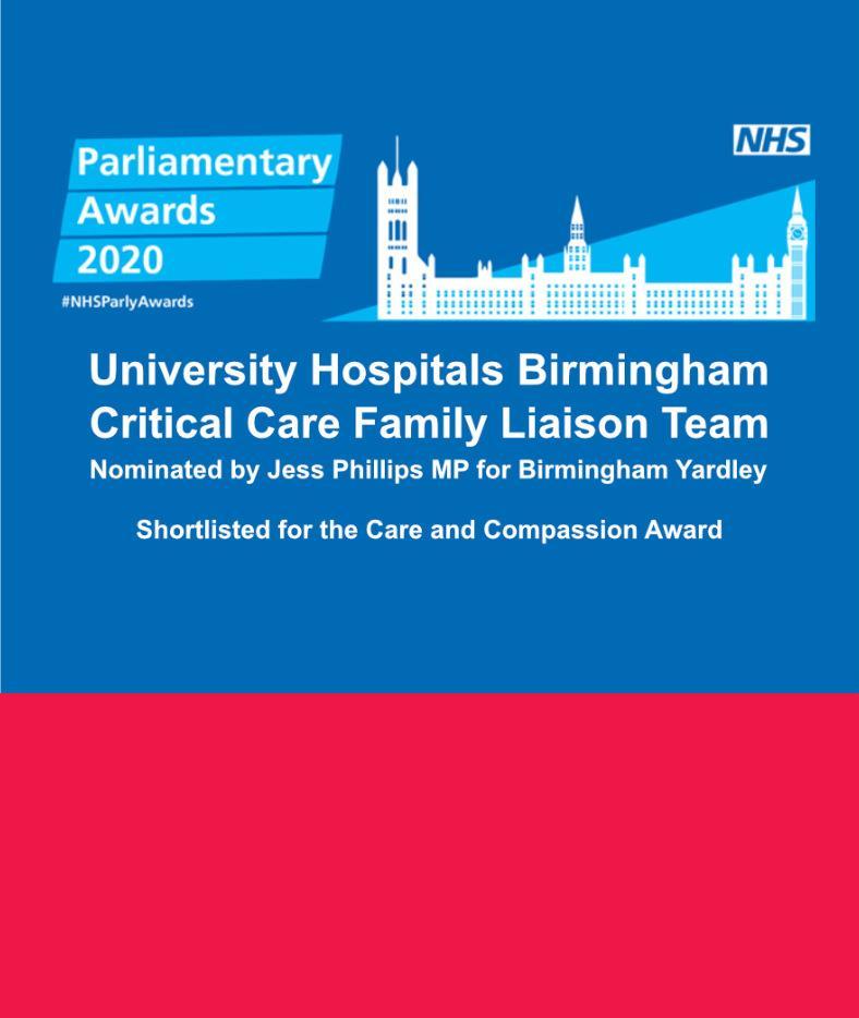 University Hospitals Birmingham shortlisted for Parliamentary Awards 2020